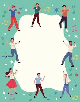 Huit personnes dansant autour
