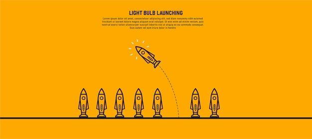 Huit roquettes, dont l'une a viré de l'autre. c'est une nouvelle idée différentes idées commerciales les idées sont prêtes à prendre des risques leadership.