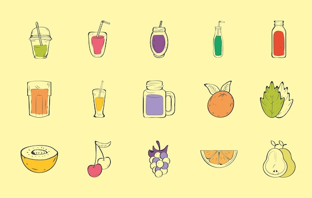 Huit smoothies et six fruits