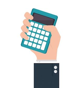 Humain à la main avec calculatrice
