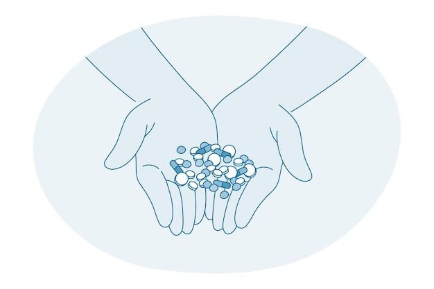 Human hands holding assortiment de pilules de capsules pharmaceutiques medic