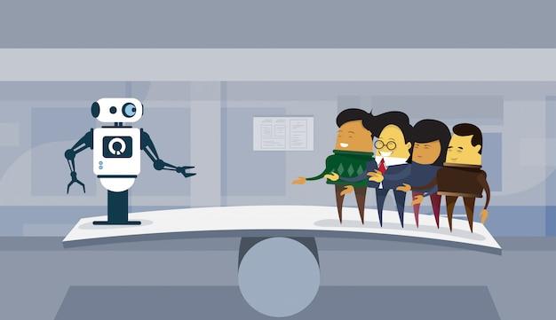Human vs robots groupe robotique et gens d'affaires moderne