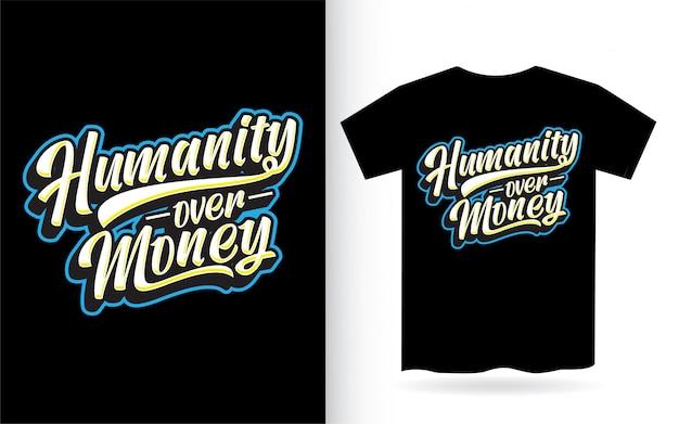L'humanité sur la conception de lettrage d'argent pour t-shirt