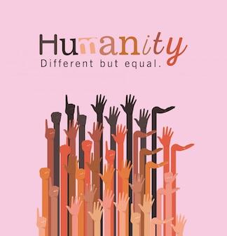 L'humanité différente mais égale et la diversité remet la conception, les gens race multiethnique et le thème de la communauté