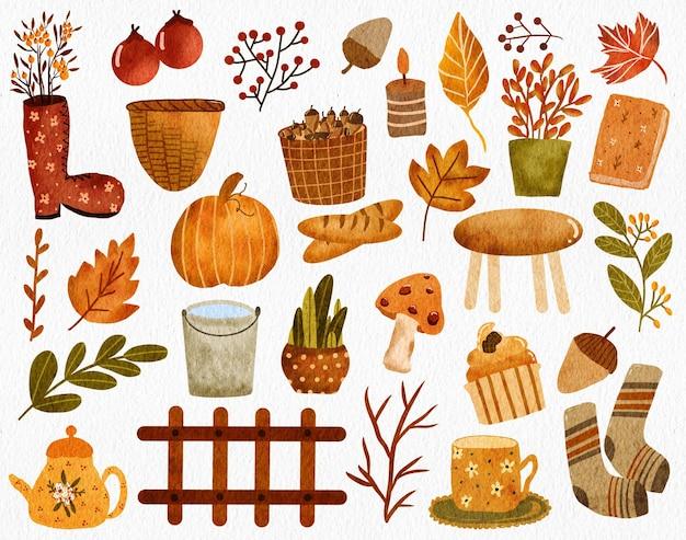 Humeur d'automne aquarelle peinte à la main essentials bottes branche noyer bougie pain cupcake chaussettes fleur