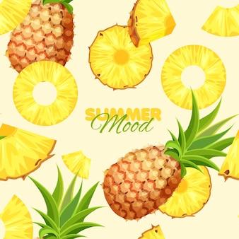 Humeur d'été modèle sans couture d'ananas
