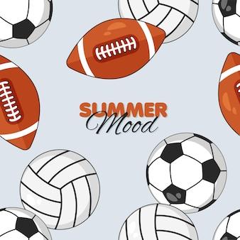 Humeur d'été de modèle sans couture de boules de sport