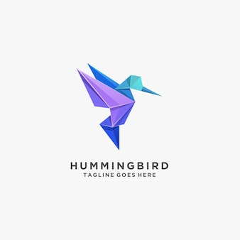 Humming bird fly origami logo coloré.