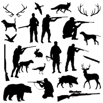 Hunter forest animal silhouette clip art