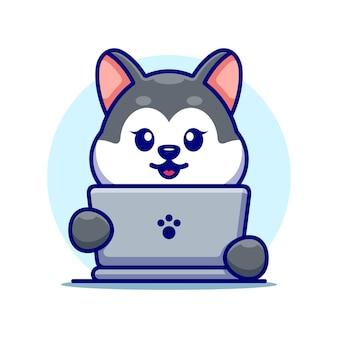 Husky mignon avec dessin animé pour ordinateur portable