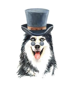 Husky sibérien aquarelle avec lunettes de soleil et chapeau haut de forme.