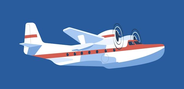 Hydravion à hélice bimoteur isolé. illustration vectorielle.
