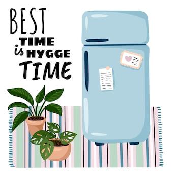 Hygge time est la meilleure affiche du temps. intérieur élégant de la chambre avec réfrigérateur et plantes. décorations maison lagom. saison confortable. appartement moderne et confortable meublé dans un style hygge