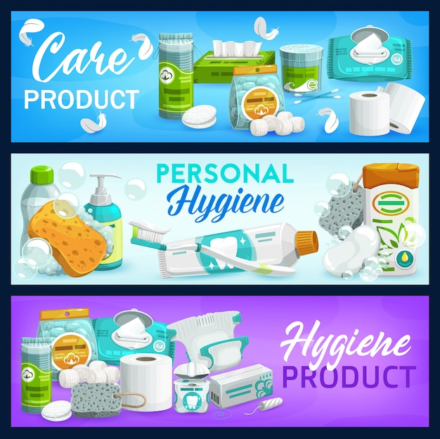 Hygiène, produits de soins. savon, papier toilette et shampoing, brosse, dentifrice et lingettes nettoyantes, bouteille de mousse liquide, gel douche. cosmétique corporelle et de santé, hygiène corporelle, soins quotidiens