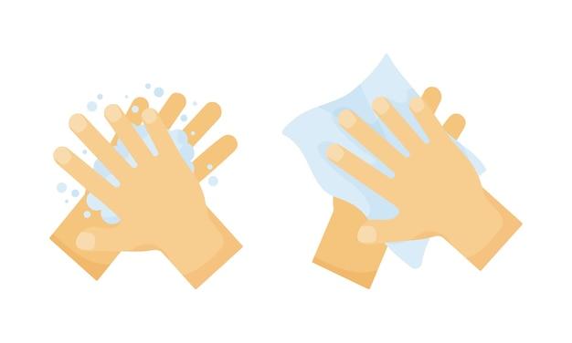Hygiène. se laver les mains avec du savon et essuyer avec une serviette. illustration