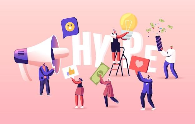 Hype, illustration de diffusion de contenu viral ou faux sur les médias sociaux. petits personnages avec d'énormes lettres et mégaphone.