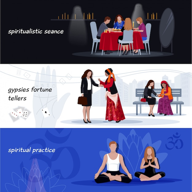 Hypnotisme extrasensory banner set