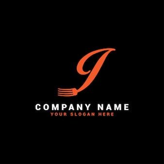 I food letter logo avec symbole de fourchette