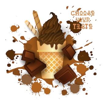 Ice cream chocolate cone dessert coloré icône choisissez votre café au goût affiche