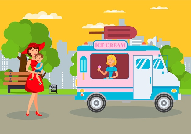 Ice cream van dans le parc plat vector illustration