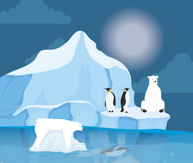 Iceberg block scène de nuit arctique avec pingouins et ours polaire
