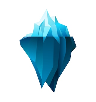 Iceberg sur fond blanc, illustration polygonale