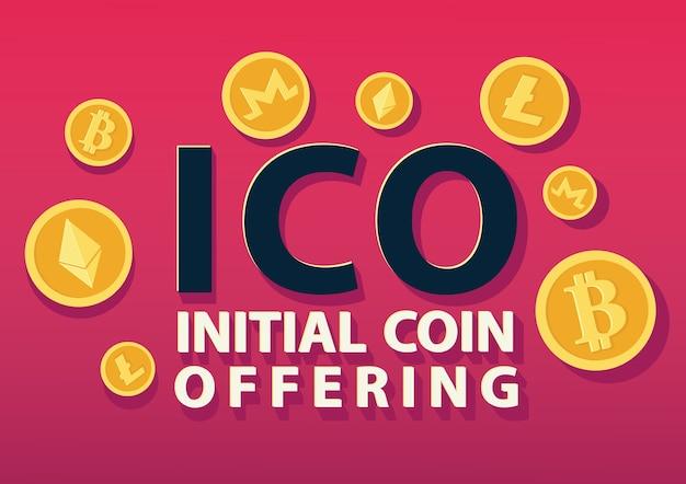 Ico ou concept initial d'offre de pièce de monnaie.