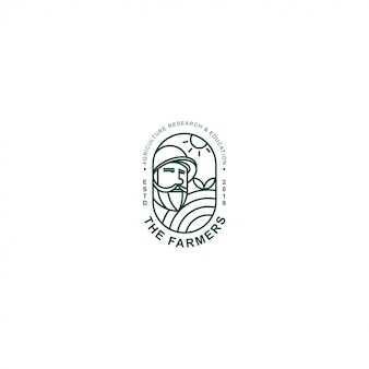 Icon logo premium farmer with line art
