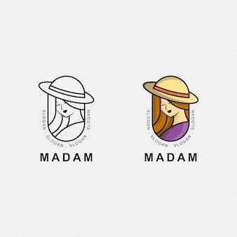 Icon logo premium d'une femme mature