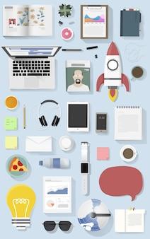 Icon set équipement illustration de mode de vie vecteur icône