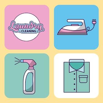 Icon set nettoyage de linge délicat