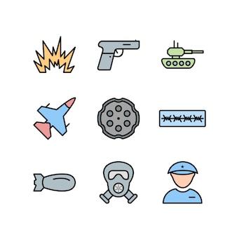 Icon set of military