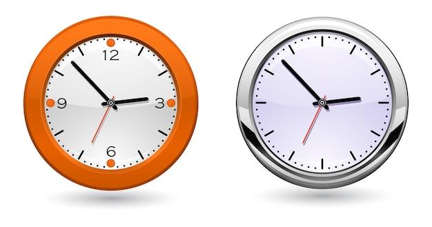 Icône 3d horloge métallique classique