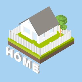 Icône 3d isométrique. maison de pictogrammes avec une clôture blanche et des arbres. illustration vectorielle eps 10.