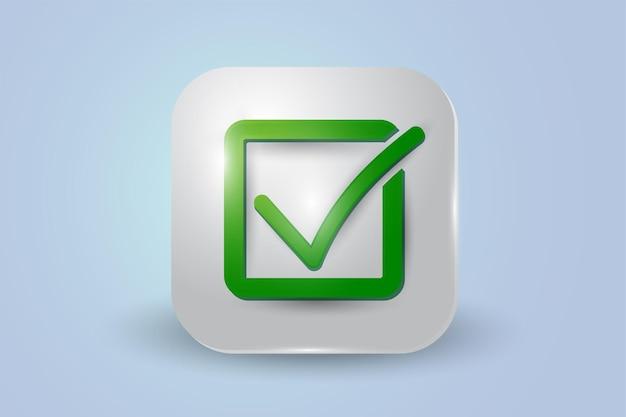 Icône 3d de liste de contrôle carré vert isolé