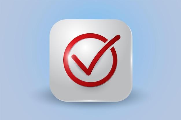 Icône 3d de liste de contrôle rouge isolé