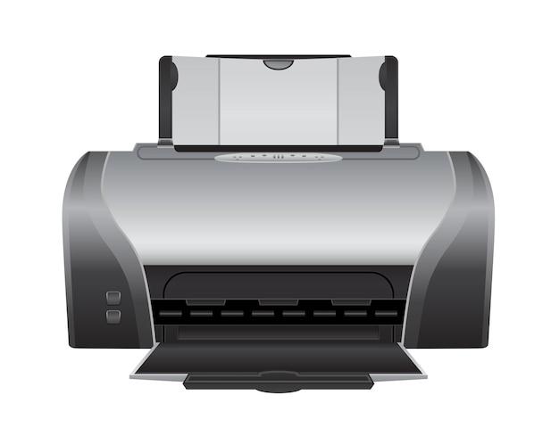 Icône 3d de machine d'imprimante laser sur blanc