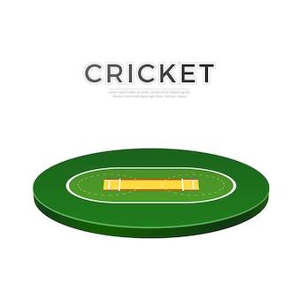 Icône 3d de terrain de jeu de cricket de vecteur pour parier