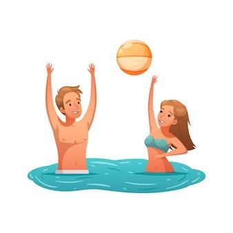 Icône d'activité d'été avec deux personnes jouant avec le ballon dans le dessin animé de l'eau