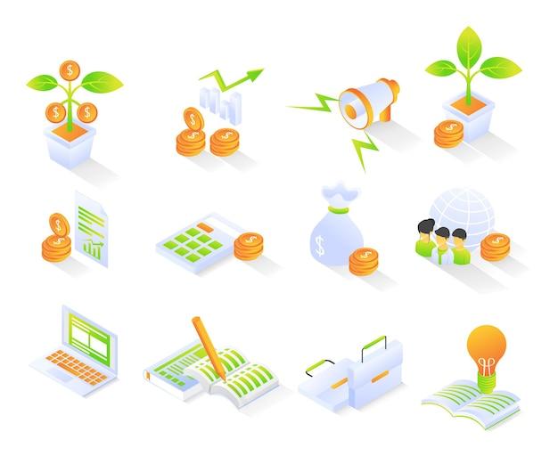 L'icône des affaires et des finances avec un style isométrique définit un vecteur moderne premium