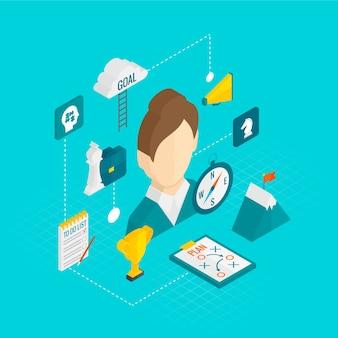 Icône d'affaires isométrique de coaching