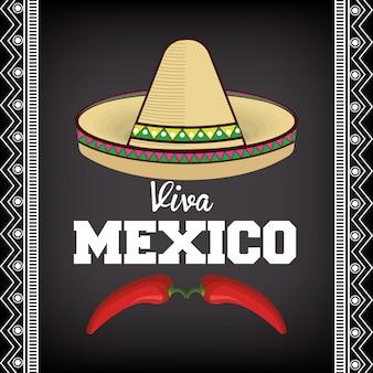 Icône d'affiche viva mexico sombrero