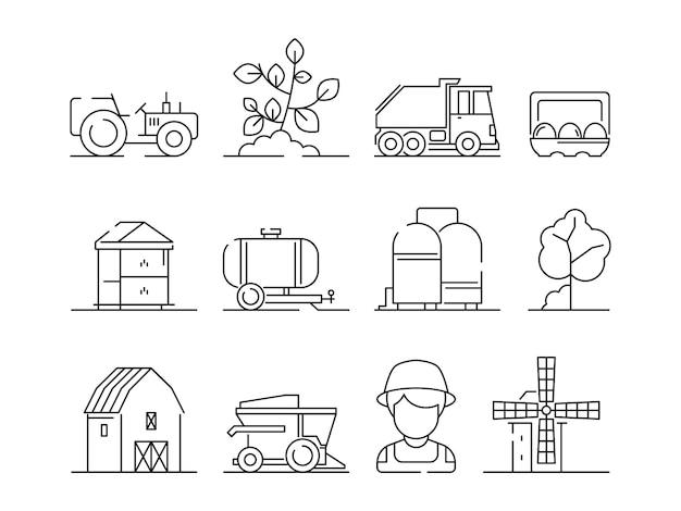 Icône agricole. agriculture industrielle machine village nature champ ferme paysage et bâtiments symboles