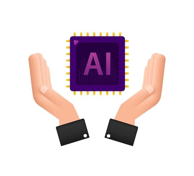 Icône ai de la page de destination de l'intelligence artificielle avec les mains modèle de site web
