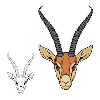 Icône d'animal antilope impala, mascotte de sport de chasse