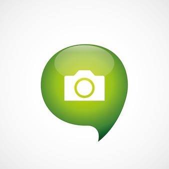 L'icône de l'appareil photo vert pense logo symbole bulle, isolé sur fond blanc