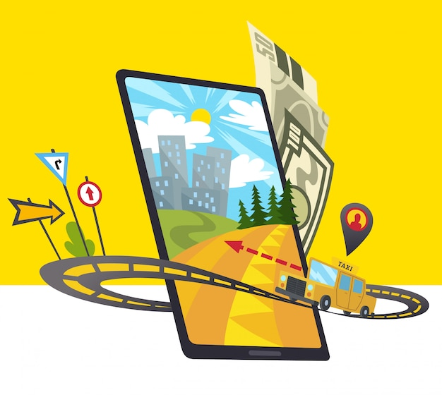 Icône de l'application mobile taxi comprend un smartphone
