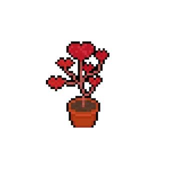 Icône d'arbre coeur rouge dessin animé pixel art.