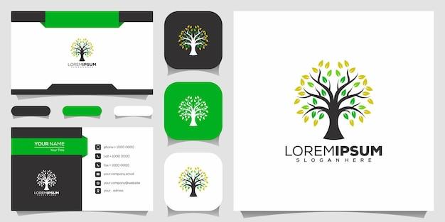 Icône de l'arbre. éléments. modèle de logo de jardin vert et carte de visite