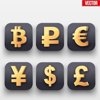 Icône d'argent. symbole du dollar d'or